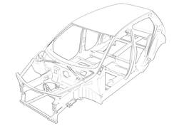 Zeichnung einer Karosserie.